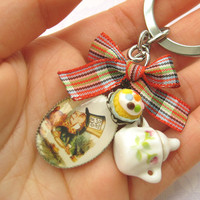 OOAK Alice In Wonderland Inspired Mini Sugar Pot Keyring / Keychain - At The Tea Party | Luulla