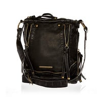 Black zip trim messenger bag - cross body bags - bags / purses - women