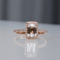 1.08ct Emerald cut white to ice peach champagne sapphire in 14k rose gold diamond ring engagement ring