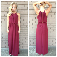 Maroon Chiffon Halter Maxi Dress