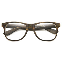Cool Indie Fashion Wood Print Clear Lens Wayfarer Glasses 8709