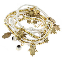 Blu Bijoux Hamsa Wrapped Bracelet in White - Max and Chloe