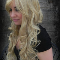 HALLOWEEN SALE / Honey Kiss / Dirty Ash Blonde / Long Curly Layered Wig with Natural Scalp Piece