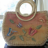 Vintage Straw Spring or Summer Handbag | ChalkScene - Bags &amp; Purses on ArtFire