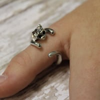 Kitty Cat Thumb ring knuckle ring silver cat adjustable ring teen jewellry fashion jewellry cat lovers gift stocking stuffers Catherine Cole