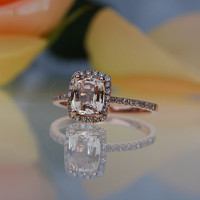 1.2ct cushion peach champagne sapphire 14k rose gold diamond ring engagement ring