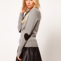 ASOS Heart Elbow Patch Sweater