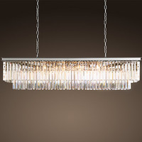 1920s Odeon Glass Fringe Rectangular Chandelier Polished Nickel