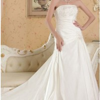 Fashion Beading A-line Strapless Chapel Train Ivory Taffeta Wedding Dress
