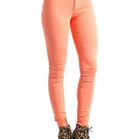 high-waisted skinny jeans $34.50 in CORAL GREEN JADE LEMON LTGREEN ROYAL - New Bottoms | GoJane.com
