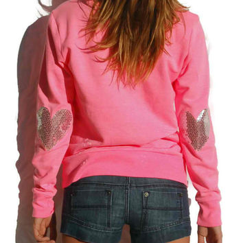 """Dazzle Heart"" Sequin Heart Elbow Patch Sweatshirt - Bright Pink/Silve - Love & Bambii - Women's Bohemian Fashion ☮ + ♥"