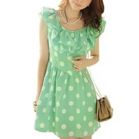 Women Two Layers Ruffled Collar Scoop Neck Dots Mini Dress