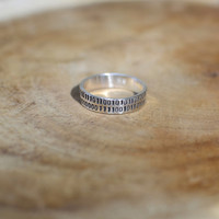 Sterling silver I love you binary code ring