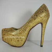 Gold Swarovski Crystals High Heels