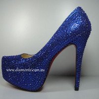 Blue Swarovski Crystals High Heels