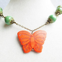 Orange Stone Butterfly & Green Glass Beaded Chain Bronze Necklace