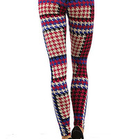 Colorful Houndstooth Leggings - Leggings Superstore