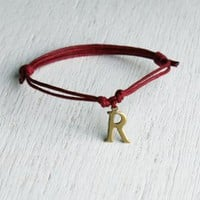Brass Initial Letter Bracelet (24 colors to choose)