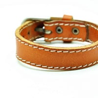 Women leather bracelet Orange Real Leather bracelet Charm Bracelet  high quality bracelet  C001