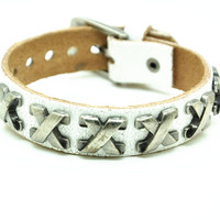 White Real Leather Bracelet with Rivet Women Jewelry Bangle Fashion Bracelet, Men bracelet   C027