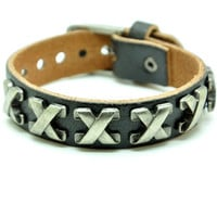Black Real Leather Bracelet with Rivet Women Jewelry Bangle Fashion Bracelet, Men bracelet   C023