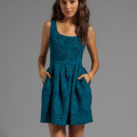Jack by BB Dakota Corrine Jacquard Woven Dress in Aqua Teal