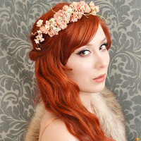 Dusty pink flower crown, pastel floral headband, wedding head piece, hair accessory - petal