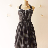 Cute Little Black Dress Tea Length Dress Classic Polka Dot Dress Bridesmaid Party Dress Once Upon A Time  -Size XS, S, M, L, CUSTOM-