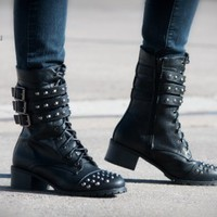 Bumper Teka-17 Buckle Studded Mid Calf Combat Boot (Black) - Shoes 4 U Las Vegas