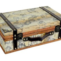 Quickway Imports Old World Map Suitcase/Decorative Box