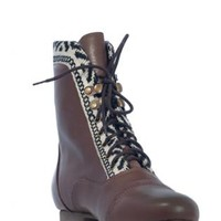 Brown Leather Oxford Boots with Tribal Trim Detail