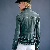 Free People Womens Military Ruffle Twill Jacket -