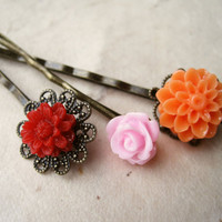 Bright Tropical Flower Hair Pins by PiggleAndPop
