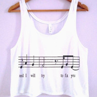 """and i will try to fix you"" Crop-Top"