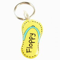 Yellow Summer Flip Flop Pet ID Tag | metamorphdesigns - Pets on ArtFire
