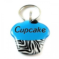 Blue Zebra Print Cupcake Pet Id Tag Cute Customized Designer Identi...... | metamorphdesigns - Pets on ArtFire