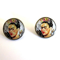 Frida Khalo Dime Earrings  Recycled Repurposed by StudioLaTouche