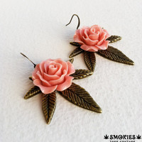 Victorian Steampunk Large Antique Brass Marijuana Rose earrings  - bronze, marijuana jewelry, boho earring, jewelry, cannabis, ganja