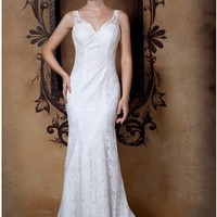 Beautiful Column/Sheath V-neck Lace Wedding Dress
