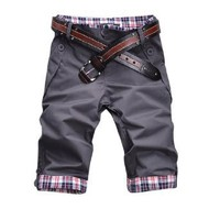 Allegra K Men Belt Loop Plaid Trim Roll up Half Pants Casual Shorts