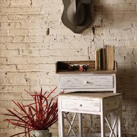 rustic wooden nesting side tables with white base and rustic wooden top