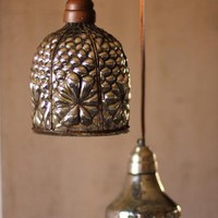 caged wire pendant lamp with brown fabric cord