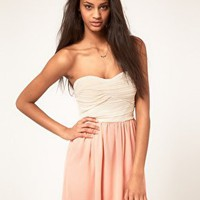 Rare | Rare Bandeau Dress with Chiffon Skirt at ASOS