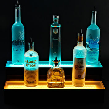 2 foot 2 Tier LED Lighted Liquor Bottle Display Shelf