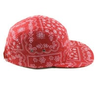 5 Panels Red Bandanna Cap