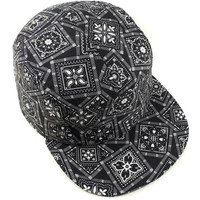 5 Panels Black Bandanna Cap