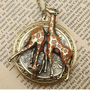 Steampunk Giraffe Locket Necklace Vintage Style by sallydesign
