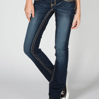 Amethyst Jeans A Stitch Womens Slim Bootcut Jeans Dark Blast  In Sizes