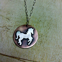 Sterling Pendant Unicorn Love Mixed Metal Necklace by Arrok