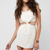 Twister Zipper Dress in Ivory :: tobi